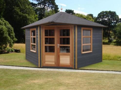 Tuinhuisje 5 hoekig facapanel met vierzijdig dak