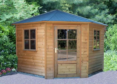 Tuinhuis 5 hoekig met driezijdig dak