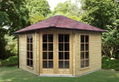 Tuinhuisje 5 hoekig met vierzijdig dak